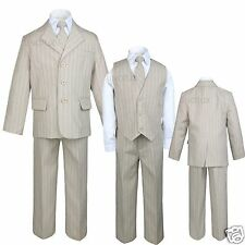 New Infant  Toddler Boy 5 pc Tuxedo Formal Party Wedding Suit Taupe S M L XL-20