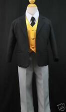 BABY,TODDLER BOYS Black/Gray HALLOWEEN FORMAL WEDDING TUXEDO SUIT SIZE S,M,L,XL