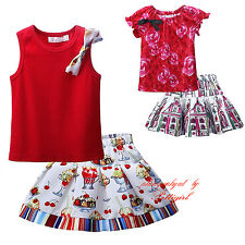 Girls T-shirt and Patterned Skirt Set Toddler Kids Floral Outfit Party Birthday