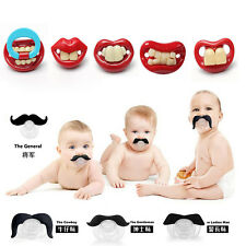 Baby Cute Dummy Prank Pacifier Novelty Teeth Children Lip Soother Nipple Beard