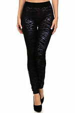 New Womens Ladies Zebra Black Metallic Print Shinny Leggings Pants Trouser