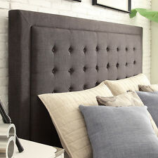 Upholstered Headboard Button Tufted Linen Contemporary Design - Dark Gray