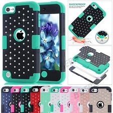 Dual Layers Bling Crystals Silicone Hybrid Tough Combo Case For iPod Touch 5 / 6