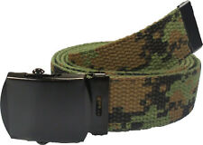WOODLAND DIGITAL Cotton Military Web Belt with Black Buckle