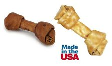 "Flavor Basted 9.5"" USA Made Rawhide Dog Bones Choose Beef or Chicken Bulk Too!"