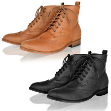 Womens ladies real leather casual smart office lace up brogue ankle boots shoes