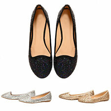NEW WOMENS LADIES GLITTER SPARKLING BALLERINA FLAT SLIP ON GLAM LOW SHOES SIZE
