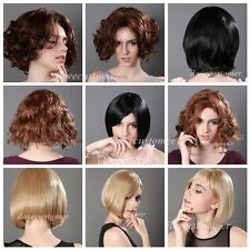 Womens Short Curly Black Brown Blond Hair Wig Heat Resistant Rose Cap Party Wigs