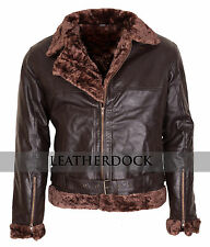 Men's Aviator B3 Ginger Genuine Leather Fur Lined Brown Bomber Flying Jacket