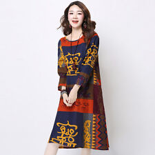 Womens Exotic Dress Printing Long sleeve Loose Slim fit Cotton Linen Long dress