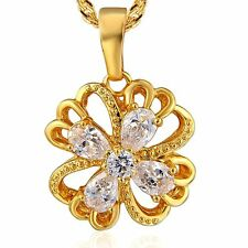 classic Lucky 9K Solid Gold Filled CZ Clover Pendant Chain 2 Colour Necklace