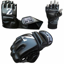 Leather Grappling Gloves Gel MMA Fight Boxing Punch Bag Cage Muay Thai Mitts