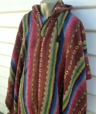 Hooded Poncho Nepalese 100% Cotton Hippie Baja Warm Mexican Style Unbrushed Cape