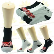 NEW 3 Pairs Ankle/Quarter Crew Mens Socks Cotton Low Cut Size 9-11 10-13 Skull