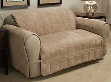 ULTIMATE FURNITURE PROTECTOR DELUXE QUILTED FAUX-SUEDE CHAIR, LOVESEAT, SOFA TAN
