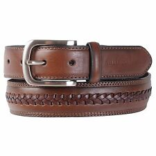 Tommy Hilfiger Men's Double-Stitched Brown Leather Belt
