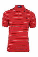 Fred Perry Polo T-Shirt Red Stripe Mod All Sizes