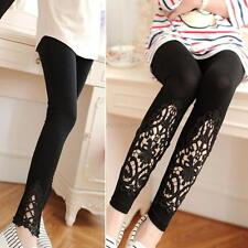 Sexy Womens Girls Modal Cozy Cotton Slim Knitted leggings hollow Out Lace Pants
