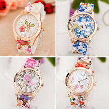 Girl Women Watch Silicone Printed Flower Causal Dress Watch Quartz Wrist Watches