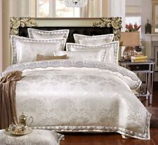 4 Piece Luxury Bedspreads Comforter Duvet Cover Set - Silver/White (King, Queen)