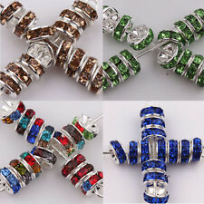 Lots 50/100Pcs Silver Plated Glass Multi Crystal Spacer Loose Disc Beads Charm
