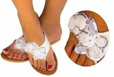 Women's Flower Flip Flops Flat Sandal Thong Open Toe Y-Strap Sequin Gladiator