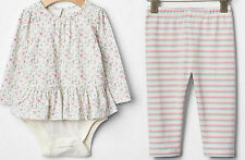 GAP Baby Girl Lot Double Bodysuit 116415 Leggings 950529 Floral 12-18 18-24