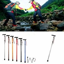 Adjustable Metal WALKING STICK Travel Cane Folding Pole Compact Retractable NEW#