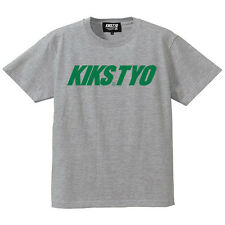 KIKS TYO Classic Logo T-shirt Ash Gray Pine Green size S SMALL from Japan