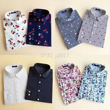 Summer Women Lapel Cotton Tops Vogue Printed Blouse Casual Long Sleeve T Shirts