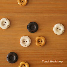 12pcs: Round Wood Buttons Carved Flower 20mm Retro Sewing Craft DIY