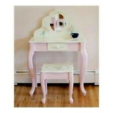Wood Vanity Set Makeup Table Chair Mirror Dresser Desk Stool Bench Drawer White