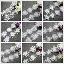 New Hot 1/5 Yards White Embroidered 2-layer Flower Applique Pearl Core Lace Trim