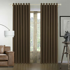 Deluxe Coffee Grommet Faux Linen Blackout Weave Window Curtains Drapes Panel