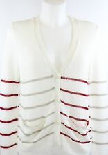 NWT 360 Sweater Ivory Button Down Striped Sweater Cardigan