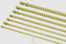 """2.5mm-10mm 14k Cuban Curb Solid Yellow Gold Chain Necklace Unisex 16""""-30"""""""