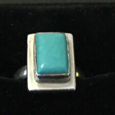 "(925) SILVER LADIES RING with TURQUOISE STONE SIZE ""R"""