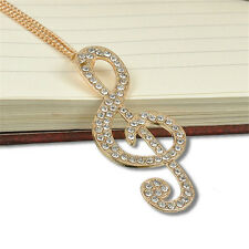 NEW Women Gold Crystal Music Note Rhythm Long Chain Sweater Necklace Pendant