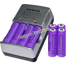 8 AA battery batteries Bulk Rechargeable NI-MH 3000mAh 1.2V Pur + Smart Charger