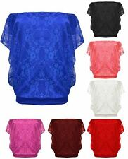 Women Ladies Batwing Lace Floral Mesh Batwing Sleeves  Casual Loose Top & Shirts