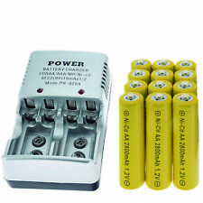 12 AA battery batteries Bulk Rechargeable NI-CD 600mAh 1.2V Yel + Smart Charger