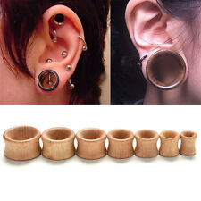 Organic Wood Hollow Double Flared Ear Plugs Tunnels Expander Stretcher Gauge AUW
