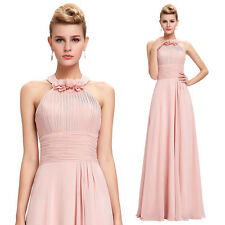 New Chiffon PINK Bridesmaid Formal Party Cocktail Halter Dress Long Evening Gown