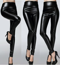 Women Ladies Sexy High Waist Wet Look Leather Like Stretch Leggings Pants 9Color