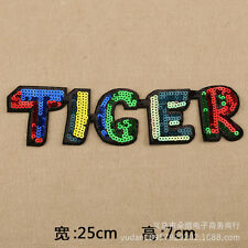 TIGER word embroidered patch iron/sew on colorful Fabric applique Cloth badge