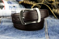 Fashion Mens Gents Genuine Leather Plaid Belts Smooth Pin Alloy Buckle Waistband