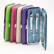 Cool 7pcs Manicure Set Nail Care Clippers Scissors Travel Grooming Kits Case New