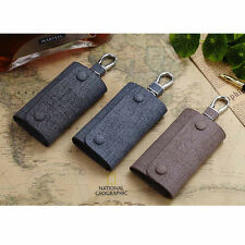 Men Snap Fastener Genuine Leather Car Keys Bag Case Keychain Wallet Holder Purse