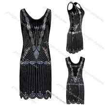 Short Beaded 1920s Flapper Gatsby Cocktail Evening Prom Party Bodycon Mini Dress