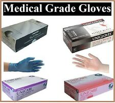 UNIGLOVES Powder Free Strong Black Latex & Nitrile Clear And Blue Vinyl Gloves